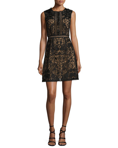 Sleeveless Lace A-Line Dress, Black