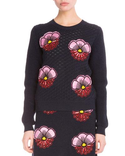Tanami Flower Embroidered Crochet Sweatshirt, Midnight Blue