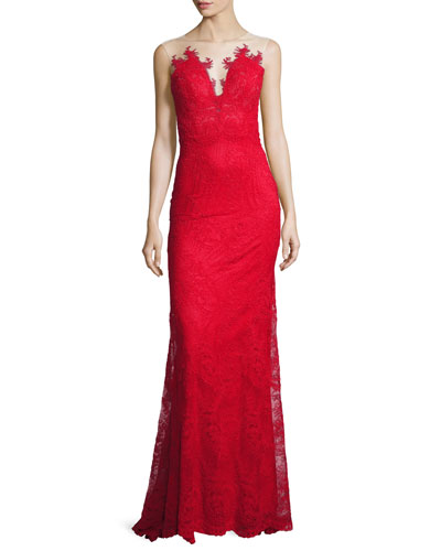Embroidered Lace Open-Back Gown