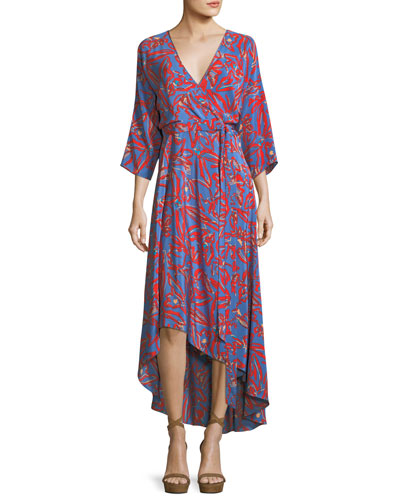 Bracelet-Sleeve Asymmetric-Hem Printed Silk Wrap Dress