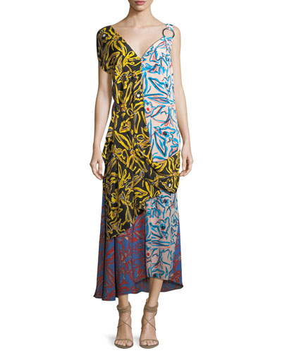 Asymmetric Draped Combo Silk Dress