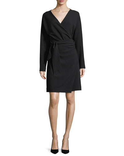Long-Sleeve Draped Crepe Wrap Dress