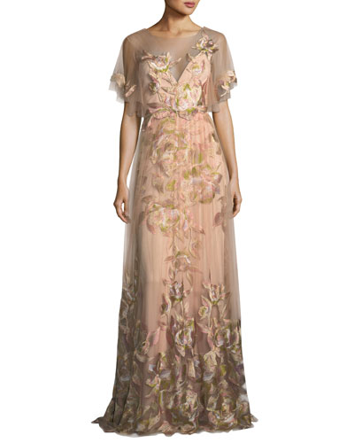 Embroidered Tulle Flutter Sleeve Evening Gown