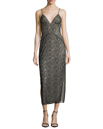 Tess V-Neck Sleeveless Floral-Lace Cocktail Dress