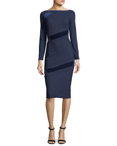 Janette Long-Sleeve Velvet-Trimmed Jersey Sheath Dress