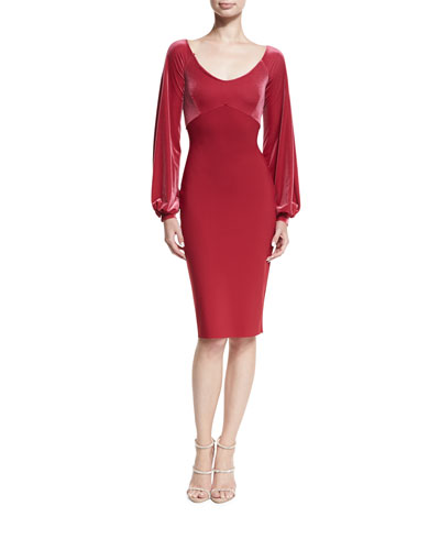Narda Scoop-Neck Cocktail Dress w/ Velvet