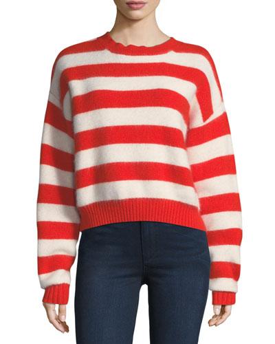 Striped Crewneck Long-Sleeve Baseball Pullover