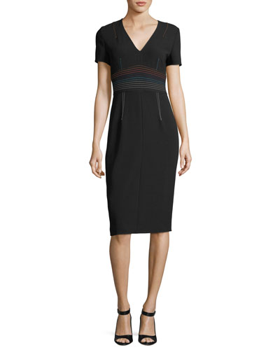 Short-Sleeve V-Neck Tailored Sheath Dress w/ Topstitching