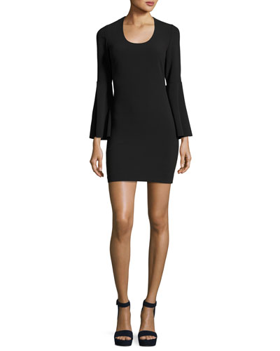 Philippa Scoop-Neck Bell-Sleeve Ponte Sheath Dress