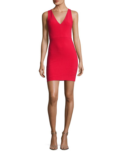 Alivia V-Neck Sleeveless Fitted Midi Dress