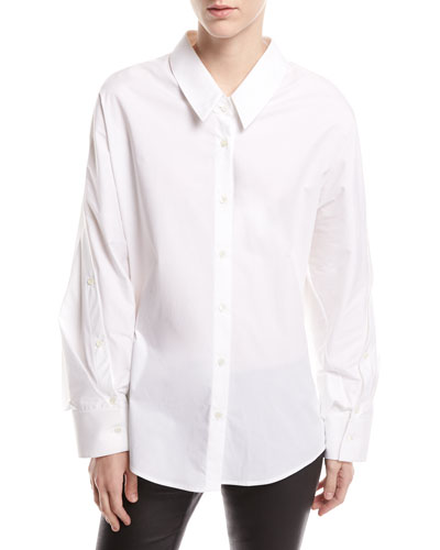 Long-Sleeve Button-Front Oxford Shirt