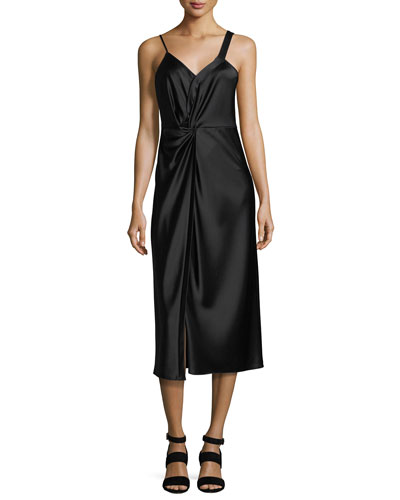 Heavy Draped Satin Sleeveless Knot-Front Dress