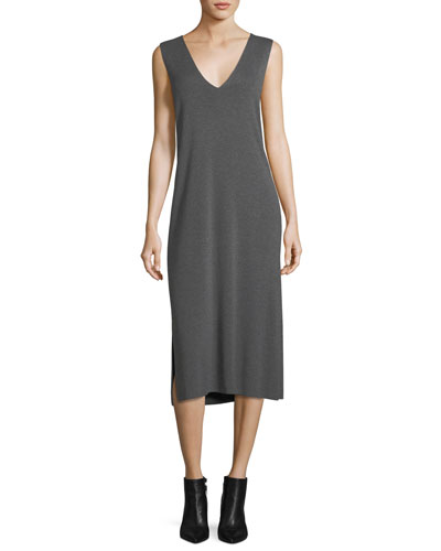 V-Neck Sleeveless Shift Midi Dress