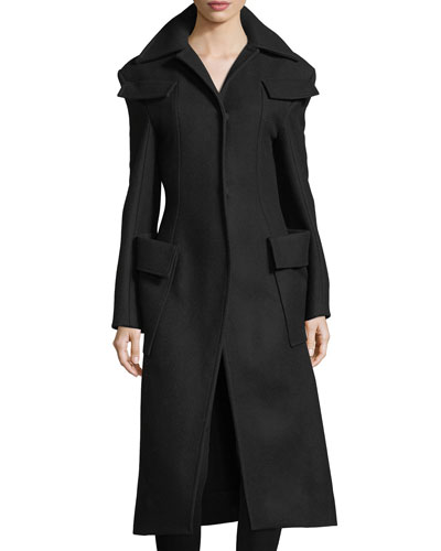 Long Wool Notch-Collar Coat