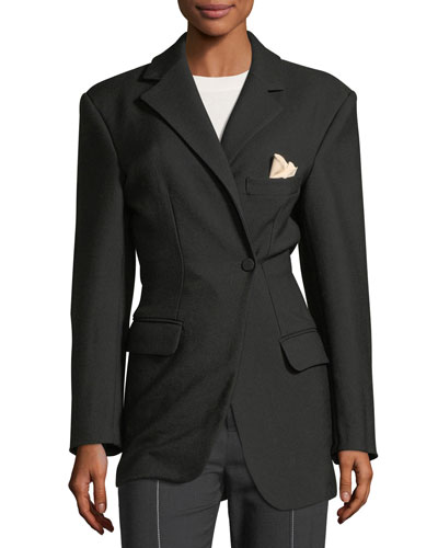 Asymmetric One-Button Wool Jacket