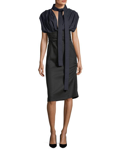 Ruched Tie-Neck Wool Dress
