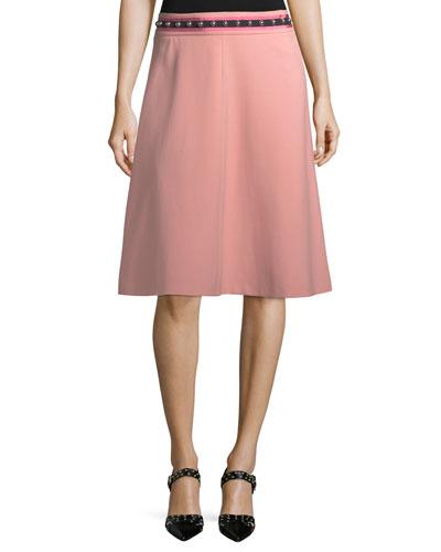 Crepe Skirt w/ Ribbon & Stud Trim