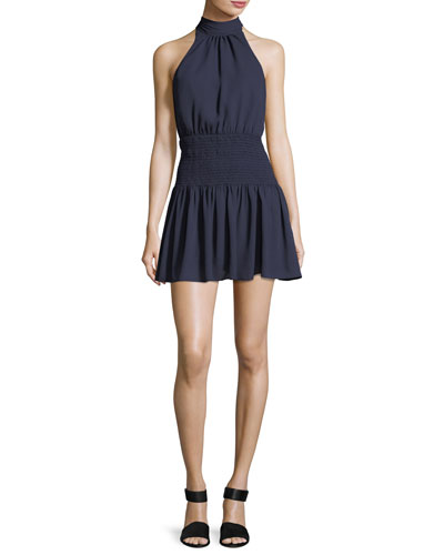 Weston Mock-Neck Sleeveless Smocked Mini Dress
