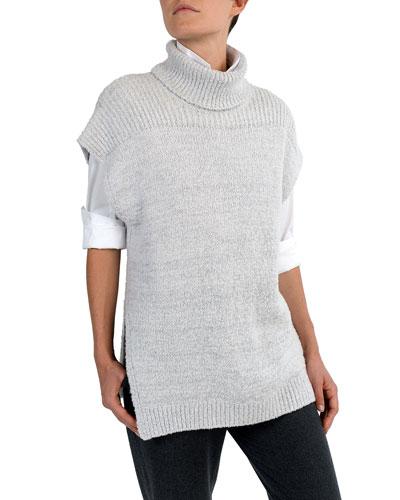 Short Dolman-Sleeve Boucle Turtleneck Pullover