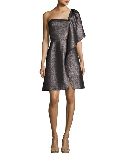 One-Shoulder Fit-and-Flare Shimmer Knit Cocktail Dress