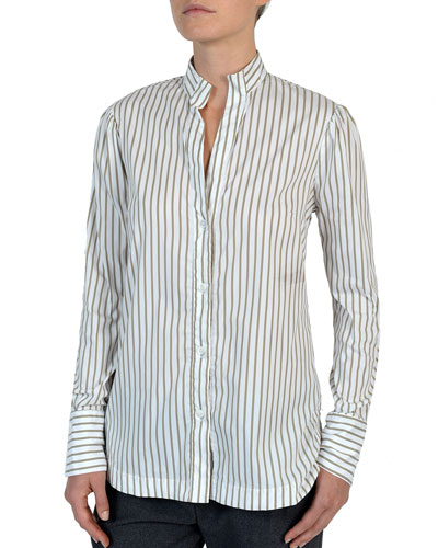 Striped Stretch-Cotton Poplin Button-Front Shirt