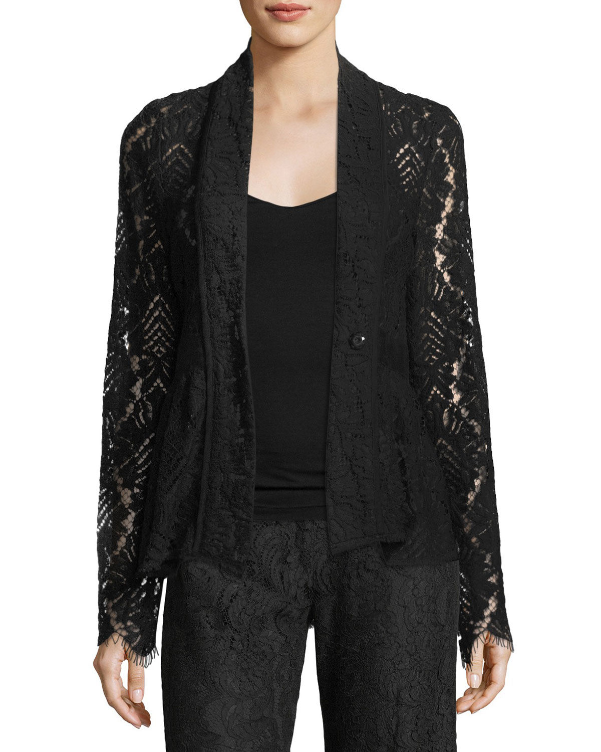 Genevieve One-Button Lace Jacket