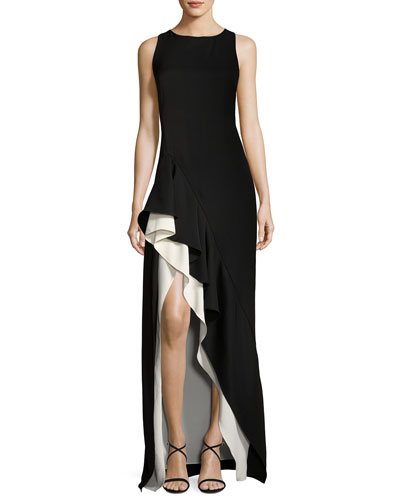 Sleeveless Boat-Neck Colorblocked Asymmetric Flounce-Skirt Gown