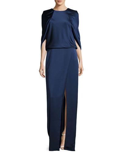 Cape-Sleeve Jewel-Neck Satin Column Evening Gown