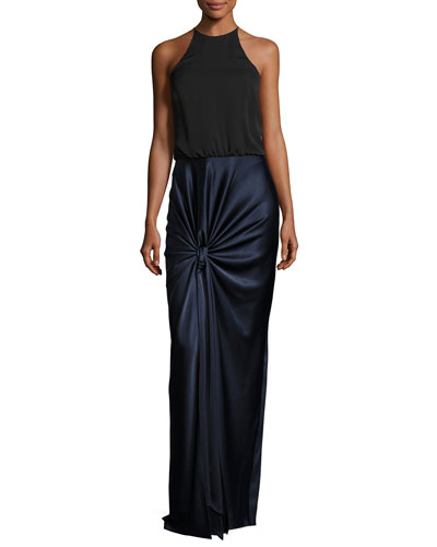 Sleeveless High-Neck Mixed-Media Twist-Drape Evening Gown