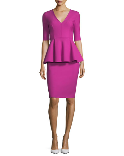 Lola Half-Sleeve Tech-Stretch Peplum Cocktail Dress