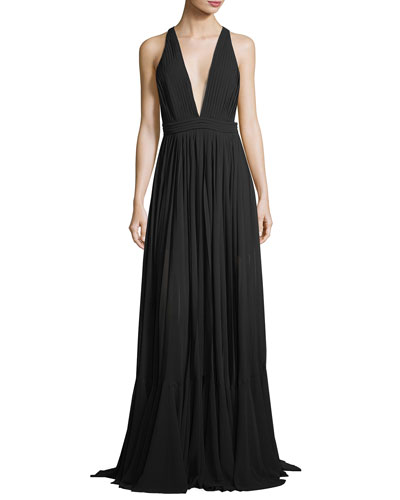 Fiona Plunging V-Neck Pleated Silk Chiffon Dress