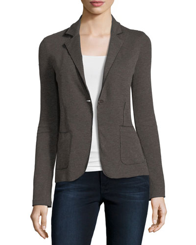 Double-Face Cotton/Cashmere One-Button Blazer
