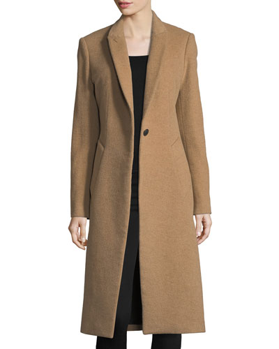 Duke One-Button Long Wool-Blend Coat
