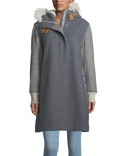 Laporta Mixed-Media Hooded Coat w/Shearling Fur