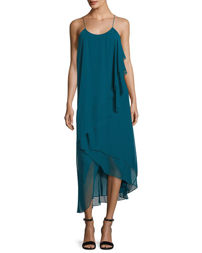 Asymmetric-Layers Sleeveless Chiffon Midi Cocktail Dress