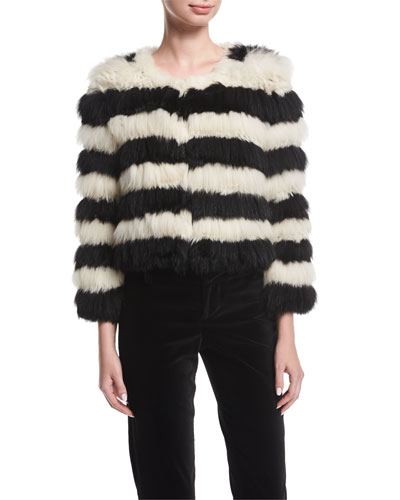 Fawn Long-Sleeve Striped Fur Jacket