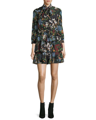 Breann Tiered Tie-Neck Floral-Print Dress