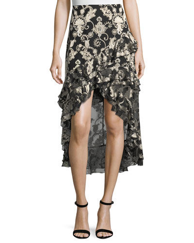 Sasha Asymmetric Tiered Ruffled Skirt