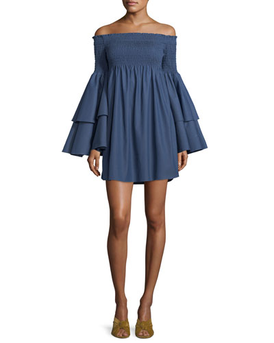 Appolonia Off-the-Shoulder Layered-Bell Sleeve Mini Dress