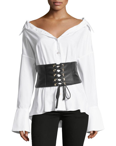 Leather Corset Button-Front Poplin Shirt