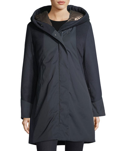 Weisshorn Mixed-Media Zip-Front Coat