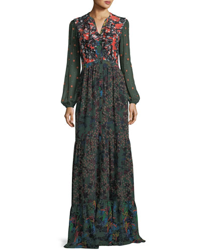 Ginny Floral-Print Button-Front Silk Maxi Dress