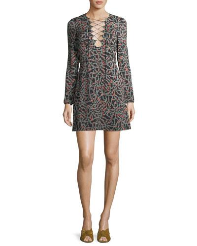 Nurul Floral-Print Lace-Up Mini Dress