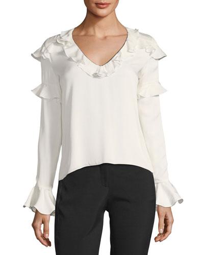 Libbie V-Neck Ruffled Silk Blouse