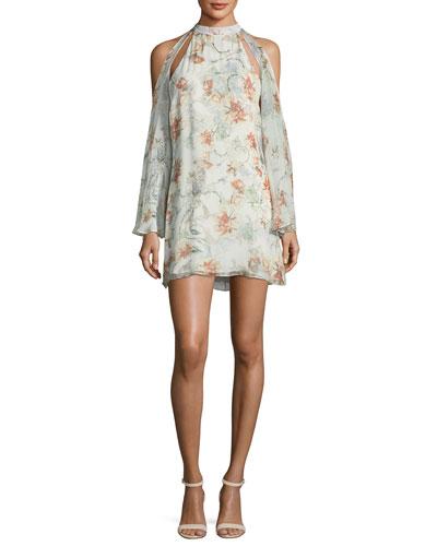 Paradise Floral-Print Halter Chiffon Dress