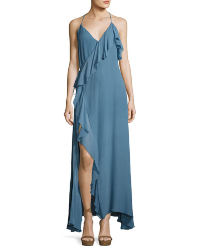 Metamorphosis Ruffled Wrap Maxi Dress