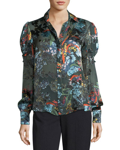 Myra Floral Devoré Silk-Blend Velvet Top