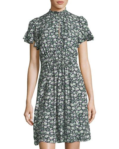 Capucine Mock-Neck Smocked Floral-Print Silk Dress