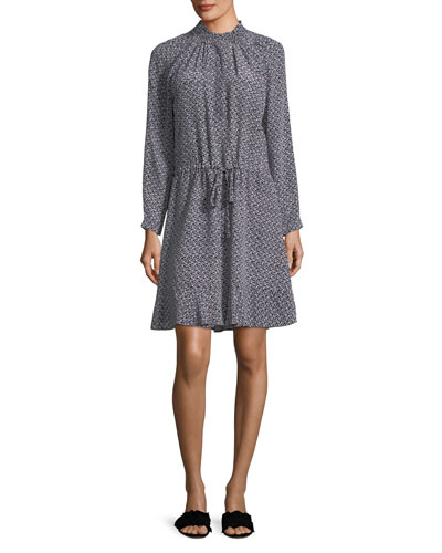 Mock-Neck Long-Sleeve Printed Silk Dress