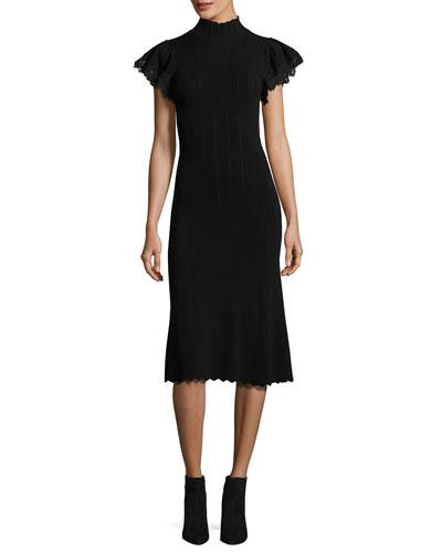 Short-Sleeve Pointelle Fitted Midi Dress